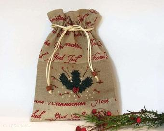 Santa Sack -Linen Gift Bag- Holy Christmas Bag-  Christmas Gift Wrap-Holidays Decor