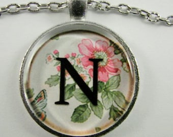 """Initial """"N"""" Necklace -- Spring pattern Personalized Letter N Necklace, Wedding Necklace, Bridesmaid Necklace, Hen Night Necklace, Friendship"""