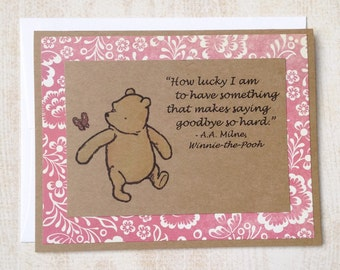 How Lucky I Am - Winnie the Pooh Quote - Classic Pooh Note Card Pink Border