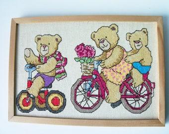 """Vintage finished framed cross stitch picture 10""""x 7""""   (#EV223)"""