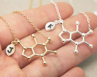 Caffeine Necklace, personalized initial, coffee necklace, chemistry necklace, science necklace, geometry necklace, graduation necklace SC003