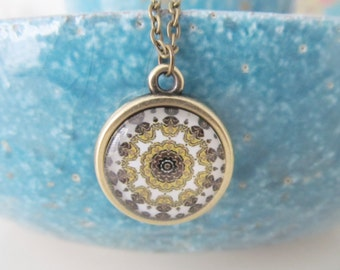 Mandala necklace, yoga necklace, bronze necklace