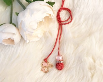 Monkey Fist Knot Leather Bookmark with Pink Cat Enamel Charm