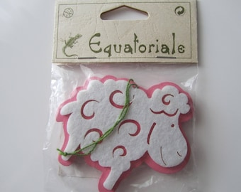 Toy made of felt and wood - double-sided - brand Equatorial - Rose and ecru