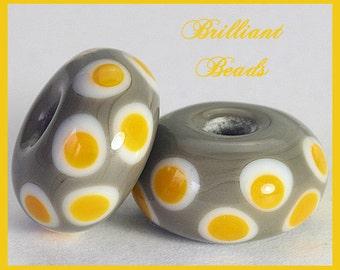 Saffron Yellow & Grey Spacer Bead Pair...Handmade Lampwork Beads SRA, Made To Order