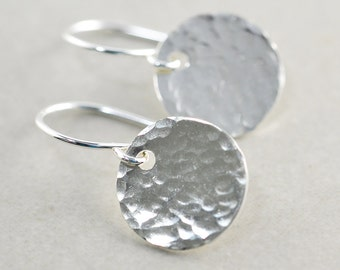 Hammered Disc Earrings, Silver Disc Earrings, Textured Coin Earrings