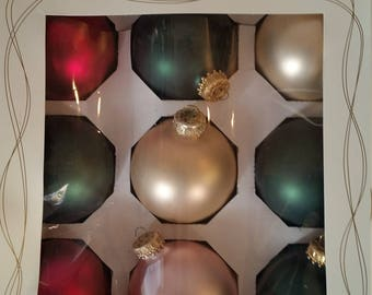 Vintage Christmas Ornaments Frosted Glass Bulb Decorations Set of 9 Made in the USA For Dayton Hudson 1990's Xmas Tree Decorations