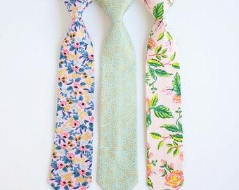 Necktie, Neckties, Boys Tie, Baby Tie, Baby Necktie, Wedding Ties, Ring Bearer, Boys Necktie, Floral Ties, Ties - Menagerie Collection