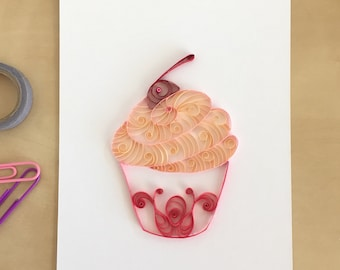 Quilling Paper Peach and Pink Cupcake Home Decor, Cupcake Kitchen Art, Cake Bakery Wall Decor, Whimsical Cupcake, Valentines Gift for Her