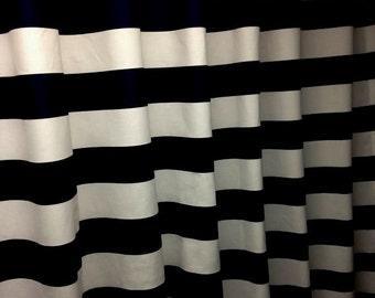 "Black and white horizontal 3"" stripe shower curtain, decorator cotton fabric"