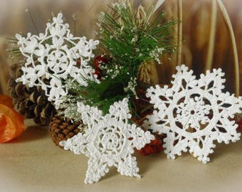 Set of 3 Crochet snowflakes Winter decor Lace snowflakes Christmas decorations Handmade snowflakes S13 S7 E