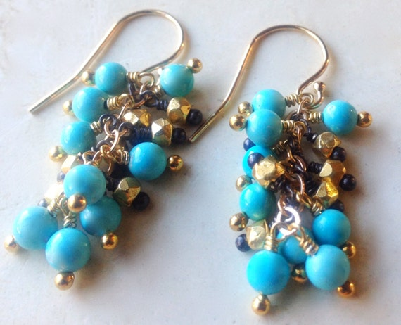 Genuine Arizona Turquoise Cluster Earrings  Gold Filled Beads Mixed Metal Oxidized Sterling  December Birthstone  throat chakra