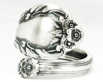 Minimalist Wild Rose Ring, Sterling Silver Spoon Ring, Wild Rose 1948 International Silver Co, 5th Anniversary Gift, Custom Ring Size (7141)