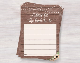 Advice For The Bride To Be Card, Funny Bridal Shower games, Rustic Bridal shower ideas, Bridal Shower advice, Bachelorette, Wedding activity