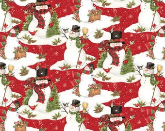 Snowman Scenic Christmas Fabric From Springs Creative By Susan Winget