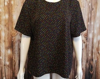 Vintage, 80's, black loose fit blouse/ rainbow polka-dots, Large