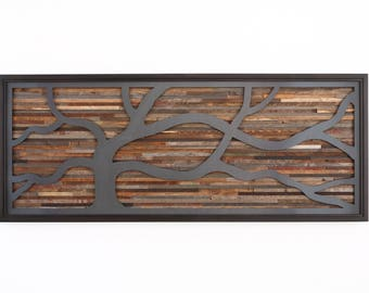 """Wood wall art, made of old reclaimed barnwood with a wind swept steel tree. 60""""x24"""", Large wall art, wood wall sculpture"""