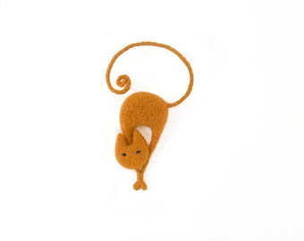 Mustard cat brooch, Needle felt cat pin, Felt animal brooch, Cat lover gift, Mustard seed jewelry, Mothers day gift, Christmas gift, For her