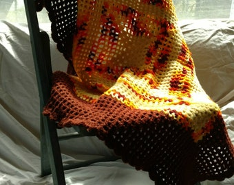 Hand made crocheted throw or lap blanket