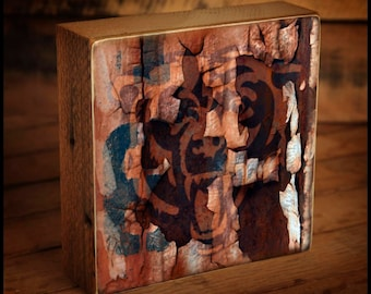 Chicago Bears Distressed Logo Reclaimed Wood Block