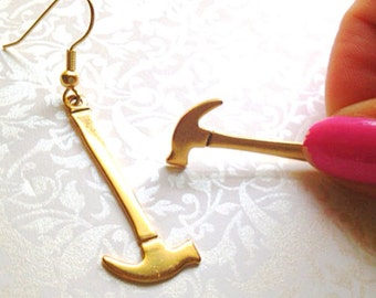 Miniature Hammer Earrings. Gold Hammers. Tool. Builder. Kitsch. Dangle Earrings. Gold Hooks. Under 10. Miniatures.