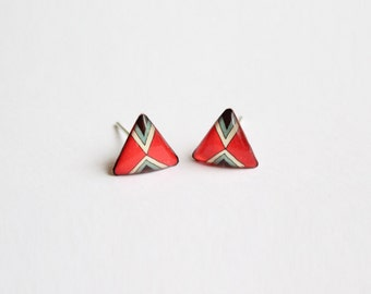 Small triangle studs, triangular stud earrings, geometric studs, tribal studs, hippie studs, hippy studs, small studs, red studs