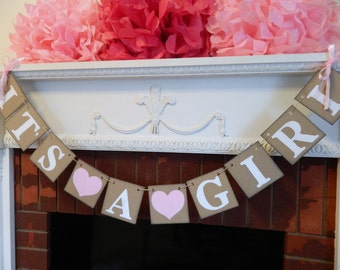 Its A Girl Banner - Baby Shower Decorations - Baby Announcements - Its A Girl Banner - Baby Shower Banners