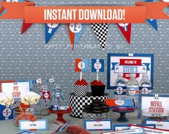 Race Car Birthday Party Printable Collection & Invitation - Editable PDF file - Print at home