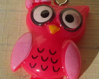 25x16mm, 3CT, Owl Charms, Pendants, One of each color, Pink, Purple and Yellow, Charms, (Y23)