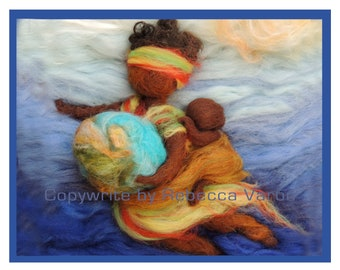 Printed Note Card - Africa Delivers the World-image from soft sculpture wool painting by Rebecca Varon Nushkie Design