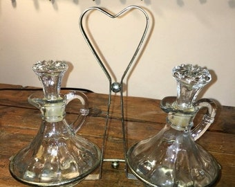 ETSY B-DAY Sale Vintage Decanter Glass Cruet Oil Vinegar Set