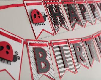 Ladybug Banner, Ladybug first Birthday, Ladybug Party Decorations, Ladybug Party, Happy Birthday Ladybug Banner