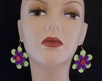 Neon Green Grape Funky Felt Flowers Earrings