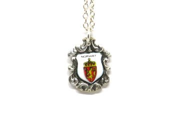 Norwegian Coat of Arms necklace, Norway necklace, Vintage necklace