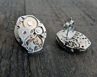 Steampunk Earrings // Clockwork studs // watch movement post earrings