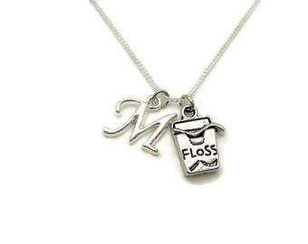 Dental Floss Necklace Dentist Necklace Dentist Assistant Initial  Dental Jewelry Dental Floss Jewelry Floss Necklace Dental Hygine