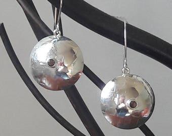 Sterling Lentil Earrings with Smoky Quartz