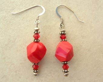 Beautiful Red Swirled Glass Central Beads, Small Red Swarovski Crystal Beads, Sterling Silver, Earrings by SandraDesigns