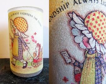 Vintage Holly Hobbie Friendship Gift, Vintage Sugar Frosted Candle, SALE