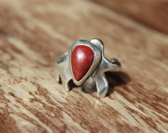 Vintage Red Coral Sterling and Turquoise Ring