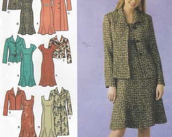 Karen Z Womens Unlined Coat or Jacket and Lined Dress Simplicity Sewing Pattern 4014 Size 10 12 14 16 18 Bust 32 1/2 to 40 UnCut
