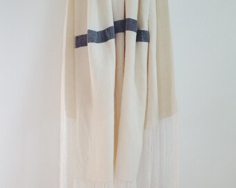 Weaving 002 - Edelweiss White Wool Blanket Shawl Scarf Couch Throw