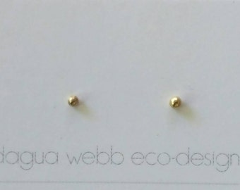 Recycled gold tiny stud earring solid 14k plain basic smallest dot 3mm 100% pure yellow gold gift present birthday Mom wife bride handmade