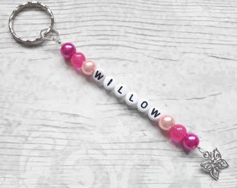 named keyring, personalised bag charm,back to school zip tag, book bag charm, zip pull, bag tag, children gift, gifts for kids, teacher gift