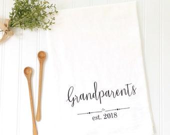 custom personalized tea towel wedding gift for newlyweds bridal shower gift flour sack tea towel kitchen decor housewarming gift