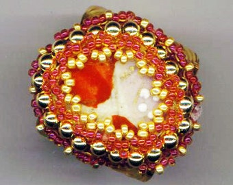 Beadwoven Adjustable Broken China Ring. Golden Filigree . Recycled China. Red& Gold Cocktail Ring - Recycled China by enchantedbeads on Etsy