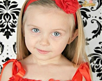 Red Flower Headband for Baby Girl - Lace Tulle Elastic Baby -