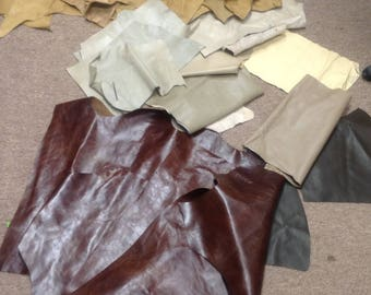 DEAL01.  42 Pieces of Leather Cowhide Remnants