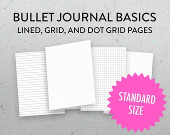Midori Insert Printable Grid, Dot Grid, Lined Insert, Bullet Journal Insert, Printable Graph Paper, PDFs, Regular Standard Size