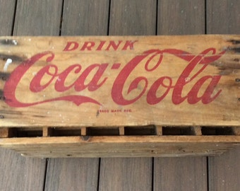 Rare mid century Coca Cola crate. Drink Coca Cola wooden bottle crate. Wooden Coca Cola crate that held 24 bottles.